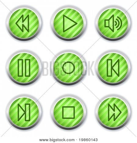 Walkman web icons, green glossy circle buttons