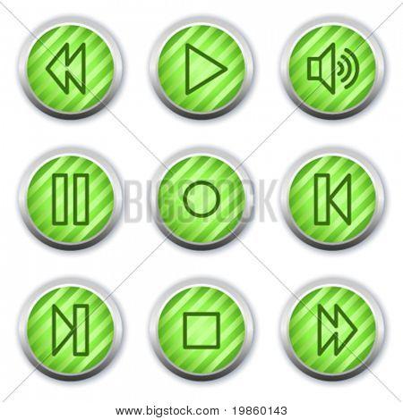 Walkman web icons, green glossy circle buttons