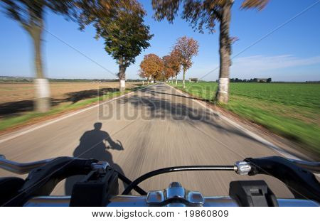 Photo taken from a moving bicycle. Motion blur is used to give the impression of speed.