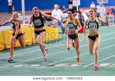 VIENNA, AUSTRIA - FEBRUARY 21: Indoor track and field championship: Doris Roeser (left most) wins the women's 60m event February 21, 2009 in Vienna, Austria.