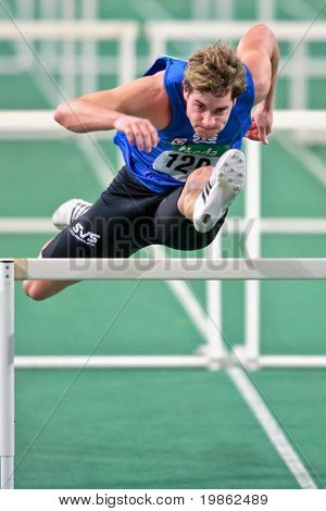 VIENNA, AUSTRIA - FEBRUARY 21: Indoor track and field championship: Manuel Prazak wins the men's 60m hurdle event February 21, 2009 in Vienna, Austria.