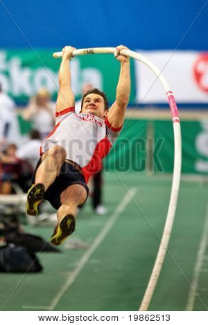 VIENNA, AUSTRIA - FEBRUARY 21: Indoor track and field championship: David Kreuzhuber places third in the men's pole vault event February 21, 2009 in Vienna, Austria.
