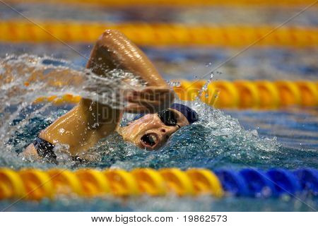 VIENNA, AUSTRIA - MARCH 1: National indoor swimming championship: Verena Klocker places second in the women's 100m freestyle event March 1, 2009 in Vienna, Austria.