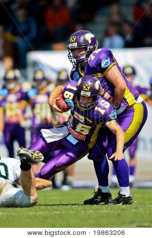 VIENNA, AUSTRIA - JUNE 1: Charity Bowl XI: QB Philipp Jobstmann (#16, Vikings) and his team  lose 14:64 to the Wesleyan Titans on June 1, 2009 in Vienna, Austria.
