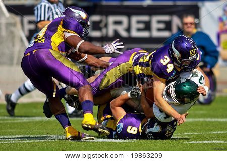 VIENNA, AUSTRIA - JUNE 1: Charity Bowl XI: LB Thomas Georg (#34, Vikings) and his team lose 14:64 to the Wesleyan Titans on June 1, 2009 in Vienna, Austria.