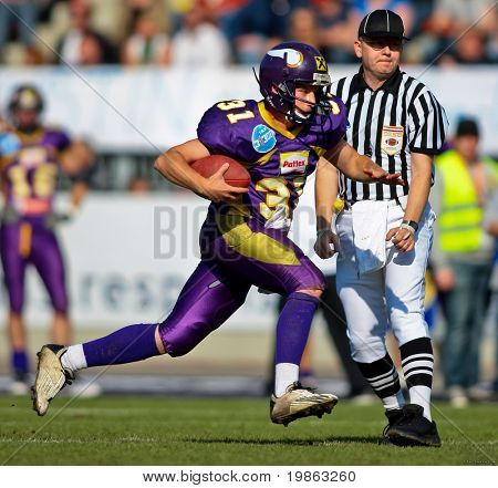 VIENNA - JUNE 1: QB Philipp Jobstmann (#31, Vikings) and his team  lose 14:64 to the Wesleyan Titans at Charity Bowl XI on June 1, 2009 in Vienna, Austria.