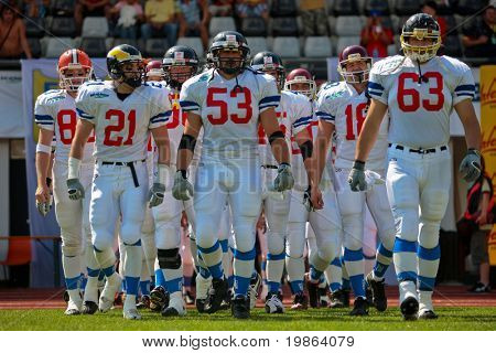 WOLFSBERG, AUSTRIA - AUGUST 18 American Football B-EC: LB Jiri Zavesky (#53, Czech) and his team beat Denmark 30:15 on August 18, 2009 in Wolfsberg, Austria.