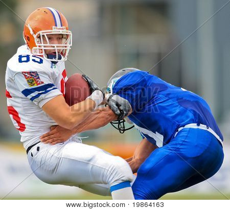 WOLFSBERG, AUSTRIA - AUGUST 22 American Football B-EC: TE Jan Kolek (#89, Czech) and his team beat Italy 27:17 on August 22, 2009 in Wolfsberg, Austria.