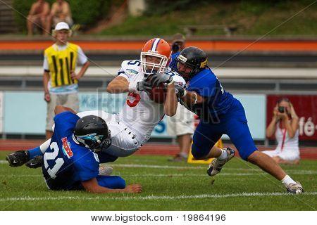 WOLFSBERG, AUSTRIA - AUGUST 22: American Football B-EC: TE Jan Dundacek (#85, Czech) and his team beat Italy 27:17 on August 22, 2009 in Wolfsberg, Austria.