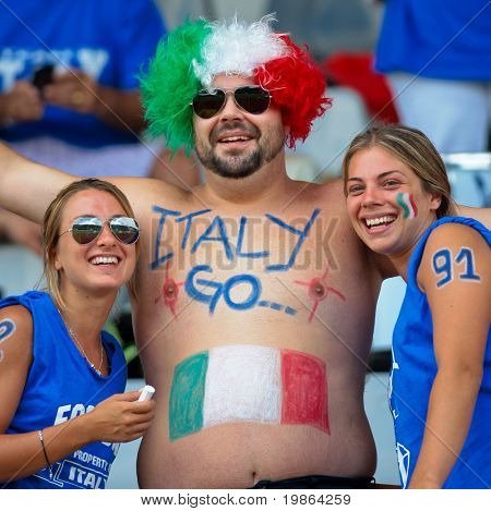 WOLFSBERG, AUSTRIA - AUGUST 22 American Football B-EC: Italian fans urge their team on - August 22, 2009 in Wolfsberg, Austria.