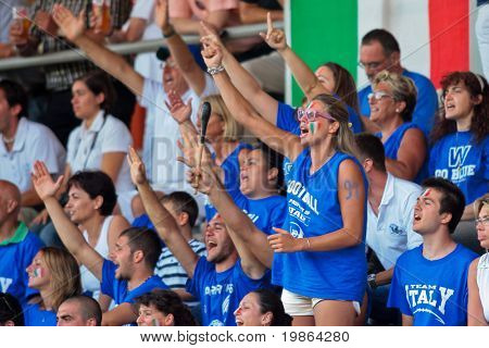 WOLFSBERG, AUSTRIA - AUGUST 18 American Football B-EC: Italian fans urge their team on - August 18, 2009 in Wolfsberg, Austria.