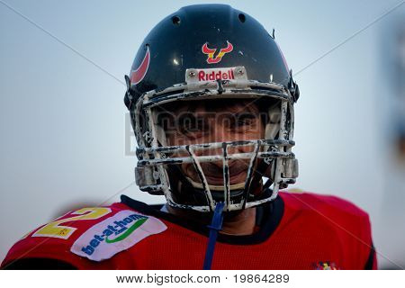 WOLFSBERG, AUSTRIA - AUGUST 20 American Football B-EC: WR Joan Carles Bartra (#22, Spain) and his team lose 0:70 against Austria on August 20, 2009 in Wolfsberg, Austria.