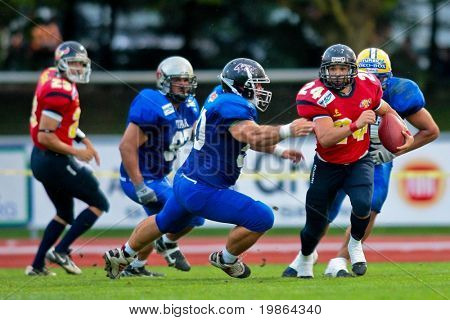 WOLFSBERG, AUSTRIA - AUGUST 16: American Football B-EC: RB Marc Sola (#24, Spain) and his team lose 7:42 against Spain on August 16, 2009  in Wolfsberg, Austria.