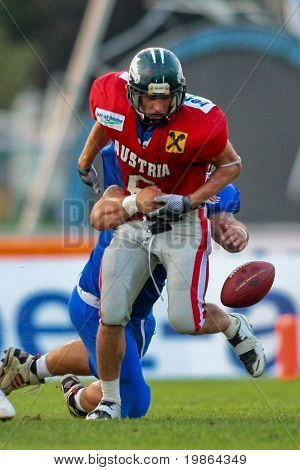 WOLFSBERG, AUSTRIA - AUGUST 18 American Football B-EC: RB Andrej Kliman (#6, Austria) and his team beat Italy 34:3 on August 18, 2009 in Wolfsberg, Austria.