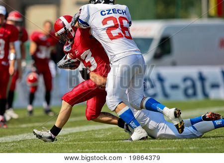 WOLFSBERG, AUSTRIA - AUGUST 20 American Football B-EC: WR Thomas Johansen (#13, Denmark) and his team beat the Czech Republic 34:0 on August 20, 2009 in Wolfsberg, Austria.