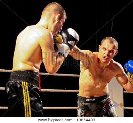 VIENNA, AUSTRIA - OCTOBER 3 Charity Boxing:  Sladi Apanovic (left, Austria) beats Michael Paris (right, Slovakia) in a cruiser weight fight on October 3, 2009 in Vienna,  Austria.