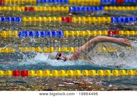 VIENNA, AUSTRIA - NOVEMBER 29 : Austrian swimmer Dominik Koll (pictured) wins  the men's 400m freestyle event  on November 29, 2009 in Vienna, Austria.