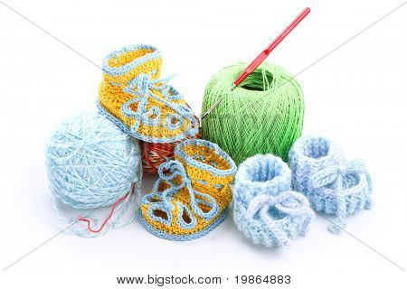 different colorful yarn isolated on white background
