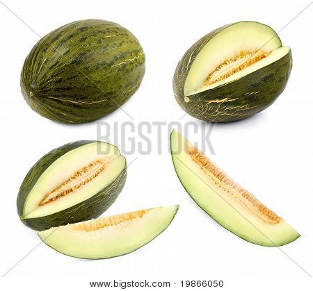 Green Melon Cut In Different Shapes