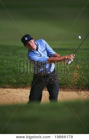 KENT ENGLAND JULY 3 England's David Howell in a bunker while competing at the PGA European Tour European Open at the London Golf Club Ash Kent England from the 2nd to 6th July 2008