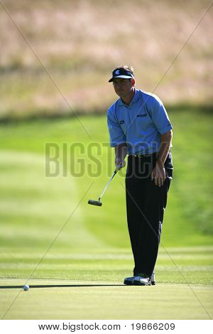 KENT ENGLAND JULY 3 England's David Howell lines up a putt while competing at the PGA European Tour European Open at the London Golf Club Ash Kent England from the 2nd to 6th July 2008