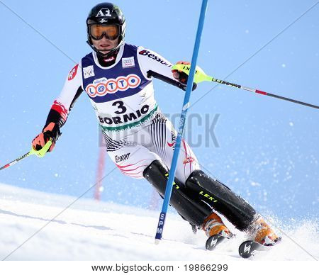 BORMIO ITALY MARCH 15 Reinfried Herbst Austria skiing at the Audi FIS World cup finals in Bormio Italy
