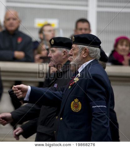 WHITEHALL, LONDON - NOV 8:  Veterans from the Royal Engineers attend the Royal British Legion Remembrance Parade at the Cenotaph November 8, 2009 in Whitehall, London.