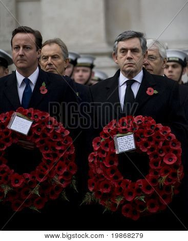 WHITEHALL, LONDON - NOV 8: Leader of the Conservative Party David Cameron (L) and Prime Minister Gordon Brown attend the Royal British Legion Remembrance Parade November 8, 2009 in Whitehall, London.