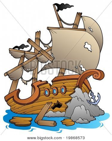 Shipwreck with rocks - vector illustration.