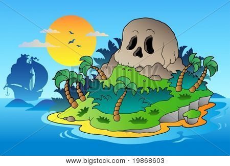 Pirate skull island with ship - vector illustration.