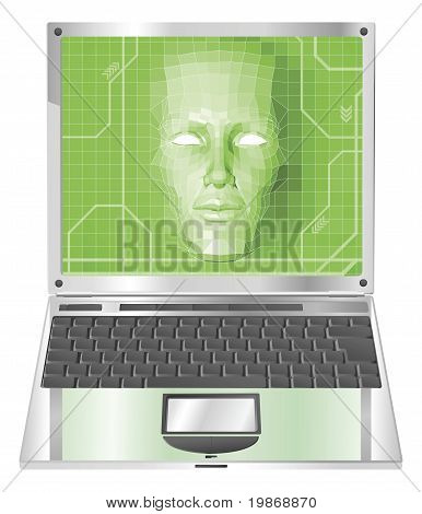Laptop Woman Concept Illustration
