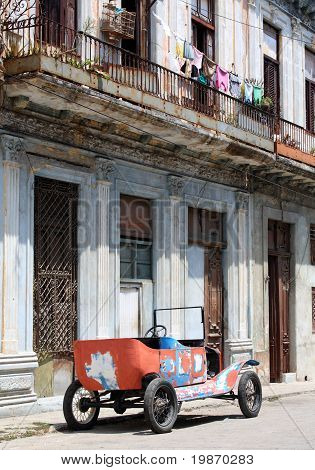Tattered Old Car In A Street Of Havana, Cuba