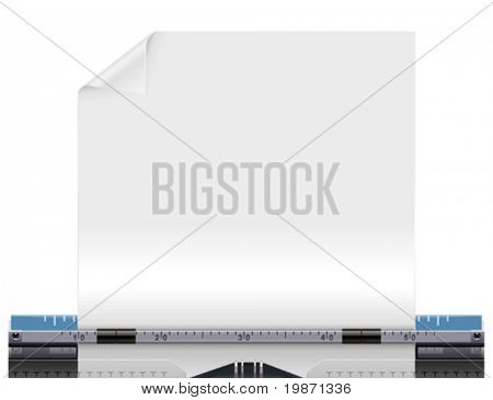 Vector retro typewriter with a blank paper