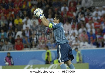 INNSBRUCK - JUNE 10: Iker Casillas goalkeeper and captain of Spain Football National Team during the match Spain-Russia 4:1 Euro2008 Group D June 10, 2008, in Innsbruck, Austria