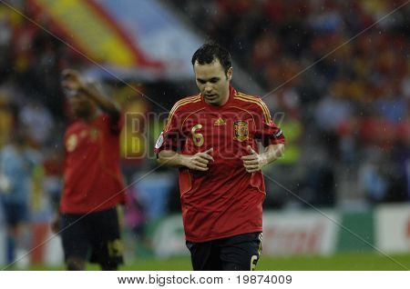 INNSBRUCK - JUNE 10: Andres Iniesta of Spain Football National Team during the match Spain-Russia 4:1 Euro2008 Group D. June 10, 2008, in Innsbruck, Austria