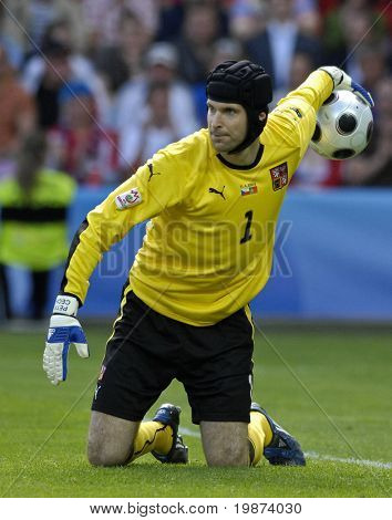 GENEVE - JUNE 11: Petr Cech goalkeeper of Czech Republic Football National Team during the match Czech Republic - Portugal 1:3 Euro2008 Group A June 11, 2008, Stade de Geneve, Geneve, Switzerland