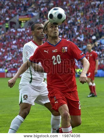 GENEVE - JUNE 11: Jaroslav Plasil n.20 of Czech Republic and Bosingwa n.4 of Portugal during the match Czech Republic-Portugal 1:3 Euro2008 GroupA June11, 2008, Stade de Geneve, Geneve, Switzerland