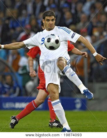 SALZBURG - JUNE 14:  Angelos Charisteas Greece forward during the match Greece-Russia during the Euro2008 Group D. June 14, 2008, in Salzburg, Austria