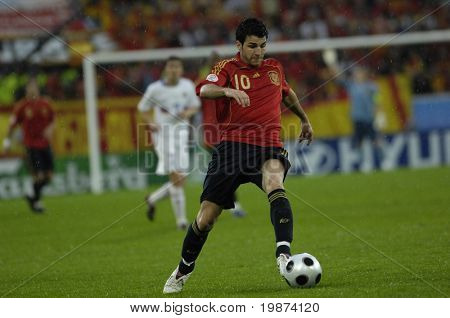 INNSBRUCK - JUNE 10: Cesc Fabregas of Spain Football National Team during the match Spain-Russia 4:1 Euro2008 Group D. Fabregas scored the last goal for Spain. June 10, 2008, in Innsbruck, Austria