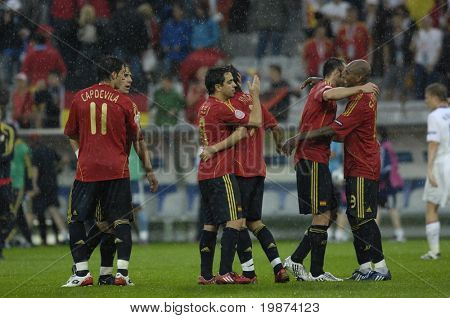 INNSBRUCK - JUNE 10: Spain Football National Team during the match Spain-Russia 4:1 Euro2008 Group D. June 10, 2008, in Innsbruck, Austria