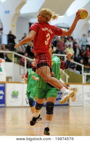 NAGYATAD, HUNGARY - MARCH 8: Eszter Orosz ready to score at Women's 17 European Handball Championship qualification match (Hungary vs. Portugal) March 8, 2009 in Nagyatad, Hungary.