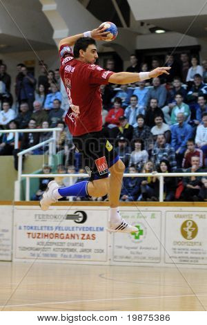NAGYATAD, HUNGARY - FEBRUARY 5: Peter Gulyas (with the ball) in action at Hungarian Cup Handball match (Nagyatad vs. Veszprem) February 5, 2009 in Nagyatad, Hungary.