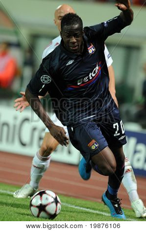 BUDAPEST - SEPTEMBER 29: Cissokho Aly (20) in action at the UEFA Champions League football game Debrecen vs Lyon, September 29, 2009 in Budapest, Hungary.