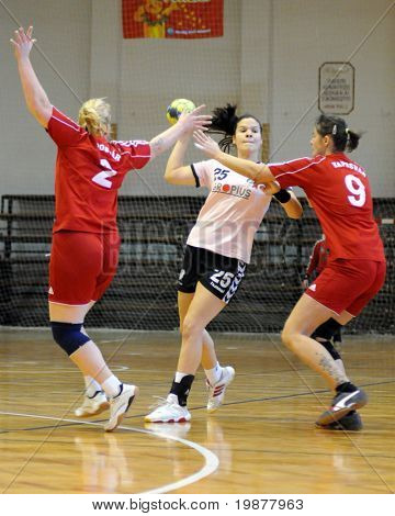 KAPOSVAR, HUNGARY - NOVEMBER 29: Karolina Pinter (25) in action at Hungarian Handball National Championship II. match (Kaposvar vs. Siofok) November29, 2009 in Kaposvar, Hungary.