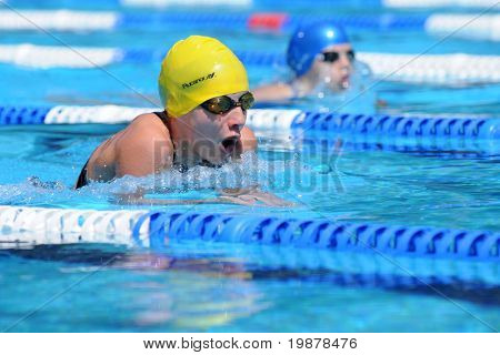KAPOSVAR, HUNGARY - JUNE 18: Unidentified competitor swims at the Hungarian Country Championship on June 18, 2008 in Kaposvar, Hungary.