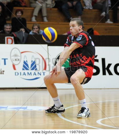 KAPOSVAR, HUNGARY - JANUARY 22: Lajos Domotor (in black) receives the ball at a Middle European League volleyball game Kaposvar (HUN) vs. HotVolleys Wien (AUT), January 22, 2010 in Kaposvar, Hungary.