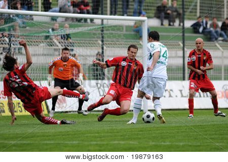 KAPOSVAR, HUNGARY - MAY 5: Unidentified players in action at a Hungarian National Championship soccer game Kaposvar vs Budapest Honved May 5, 2008 in Kaposvar, Hungary.