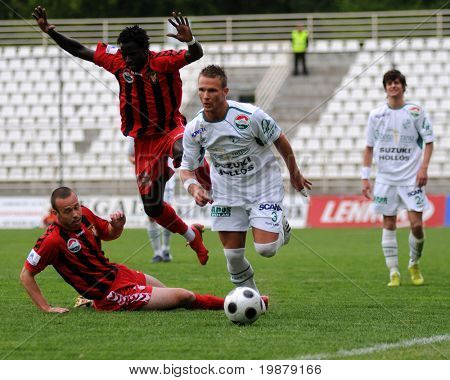 KAPOSVAR, HUNGARY - MAY 5: Attila Pinter (3) in action at a Hungarian National Championship soccer game Kaposvar vs Budapest Honved May 5, 2008 in Kaposvar, Hungary.