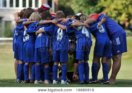 KAPOSVAR, HUNGARY - JULY 22: Semanin players celebrate the win at the V. Youth Football Festival match Balatonszemes (HUN) vs. Semanin (CZE) - July 22, 2009 in Kaposvar, Hungary