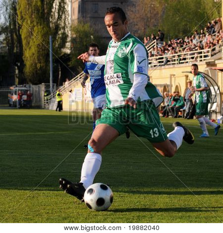 KAPOSVAR, HUNGARY - APRIL 17: Junior Pereira (13) in action at a Hungarian National Championship soccer game Kaposvar vs MTK Budapest April 17, 2010 in Kaposvar, Hungary.